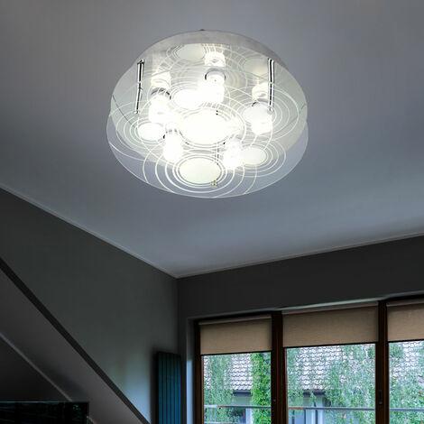 Plafón de diseño LED plateado salón comedor iluminación lámpara de cristal satinado