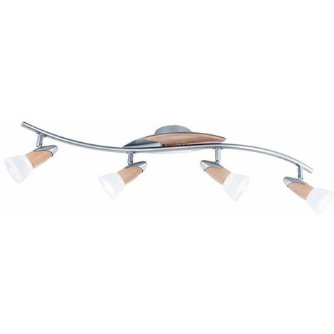 Plafón de madera Lámpara de salón Lámpara de cristal Foco de luz ajustable en el juego con bombillas LED