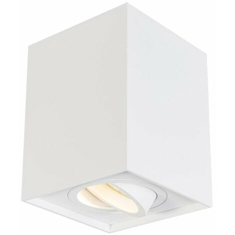 Plafón de Superficie Basculante Cuadrado Blanco para GU10/MR16 Blanco   IluminaShop
