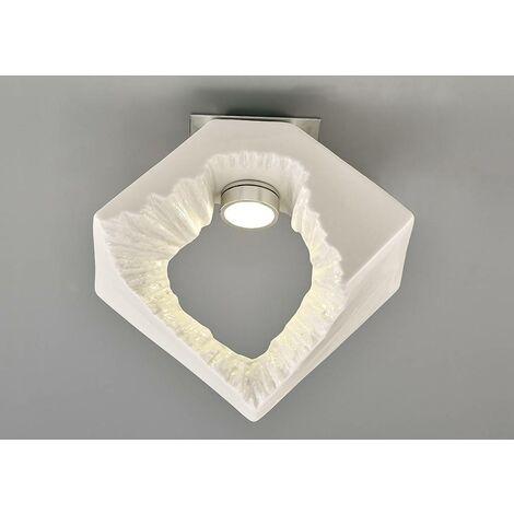 Plafón de techo cuadrado Sculpture Salvio 1 x 3W LED Cromo / blanco
