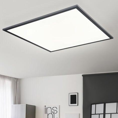 Plafón de techo plano con panel LED Plafón de salón LED Plafón de techo, cuadrado ALU negro ópalo blanco mate, 1x LED 30 vatios 2000 lúmenes blanco cálido, L 45 cm