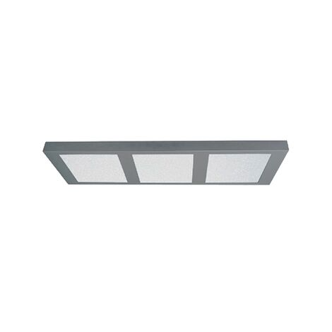 Plafón de techo rectangular para cocina de superficie led 3x18w   Plata - 0