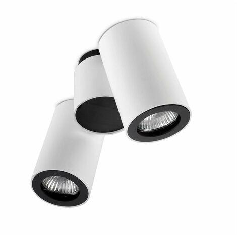 Plafón de tubo, aluminio, blanco y negro, 2 tonos
