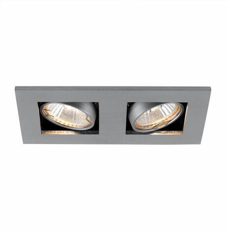 Plafón empotrado en la lámpara de techo puntos de la sala de estar de aluminio cepillado giratorio Nordlux 21070129
