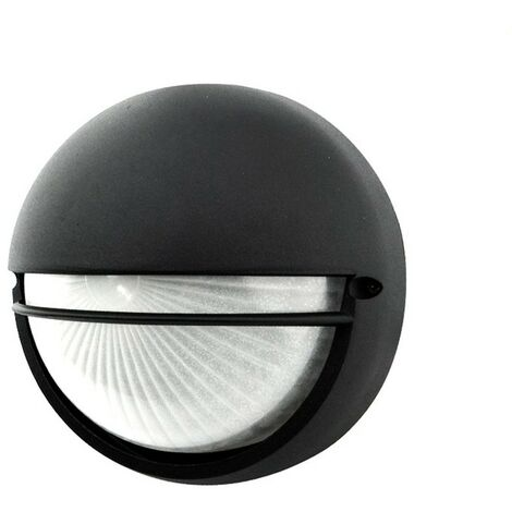 Plafón exterior circular con visera negro 60W E27