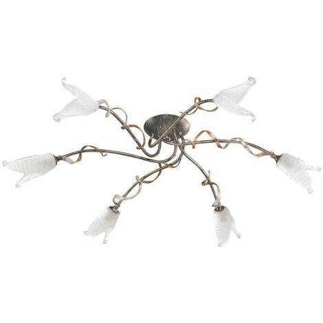 Plafón Fly, negro / plateado / dorado y vidrio, 6 bombillas