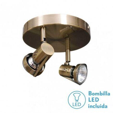 Plafon Foco De 2l. Gu10 50w (12x23x23) Cuero Bomb. LED incl.