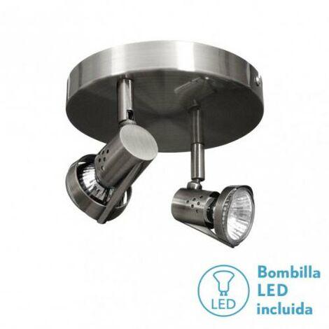 Plafon Foco De 2l. Gu10 50w (12x23x23) Niquel Bomb. LED incl.