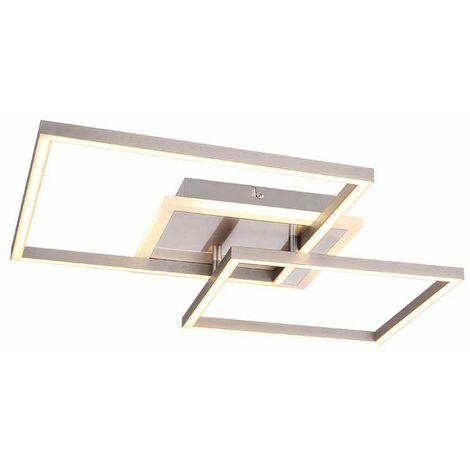 Plafón LED ALU foco opal blanco salón iluminación diseño lámpara cuadrado Globo 67220-30