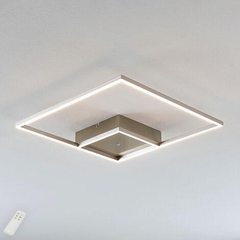 Plafón LED Bobi diseño cuadrado, acero inoxidable