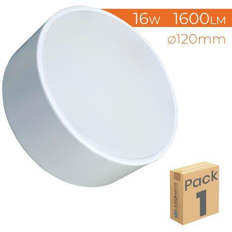 Plafón LED Circular Frameless Superficie 16W 1600LM 6500K 120mm A++ | Blanco Frío 6500K - Pack 5 Uds. - Blanco Frío 6500K