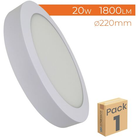 Plafón LED Circular Superficie 20W 1800LM 220mm A++ | Blanco Cálido 3000K - Pack 2 Uds. - Blanco Cálido 3000K