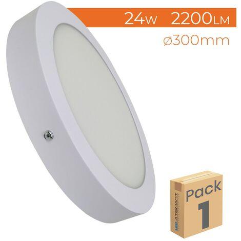 Plafón LED circular superficie 24W 2200LM 300mm A++   Blanco Frío 6500K - Pack 1 Ud. - Blanco Frío 6500K