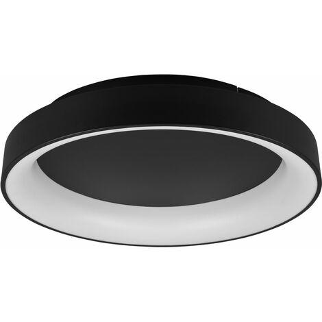 Plafón LED con mando a distancia Plafón de 60 cm Plafón LED regulable en techo redondo salón negro, CCT continuo, 1x LED 48W 5600Lm 2700 -6000K
