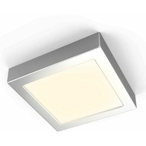 Plafón LED cuadrado 12W I Downlight I Luz blanca natural 3000K 900lm I 170x32mm I Lámpara de techo de B.K.Licht I Plata mate