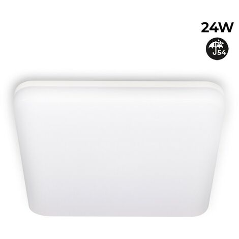Plafón LED cuadrado de superficie 2640LM 24W IP54 estanco | Blanco Neutro