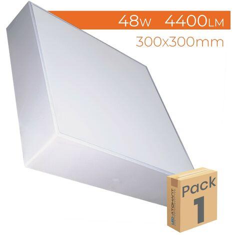 Plafón LED Cuadrado Frameless Superficie 48W 4000LM 6500K 300mm A++ | Blanco Frío 6500K - Pack 2 Uds. - Blanco Frío 6500K
