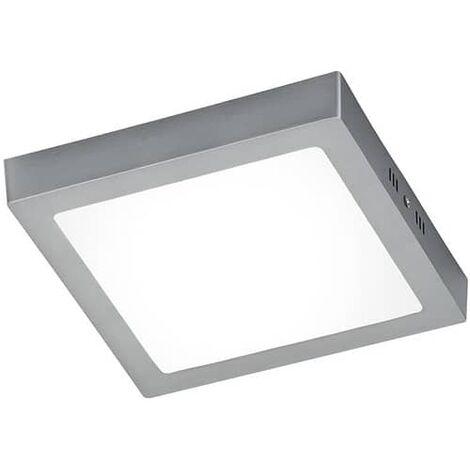 Plafon LED cuadrado Luz blanca marco plateado 18W