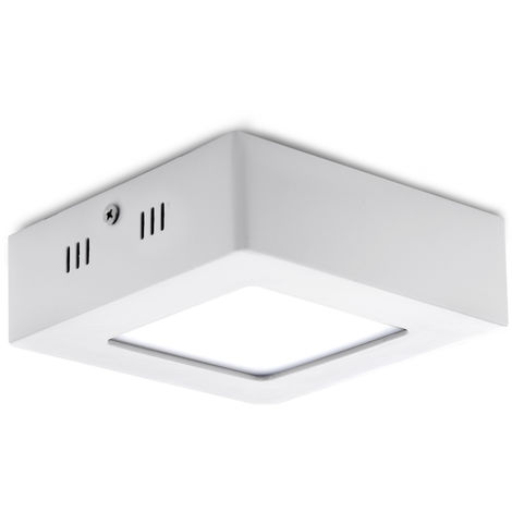 Plafón LED Cuadrado Superficie 120Mm 6W 470Lm 30.000H