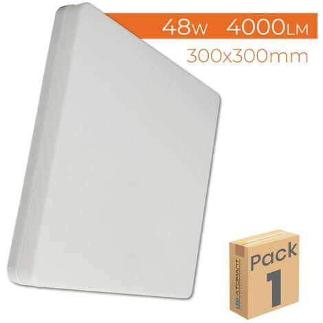 Plafón LED Cuadrado Superficie de Cocina 48W 4000LM 6500K 300mm A++ | Blanco Frío 6500K - Pack 1 Ud. - Blanco Frío 6500K