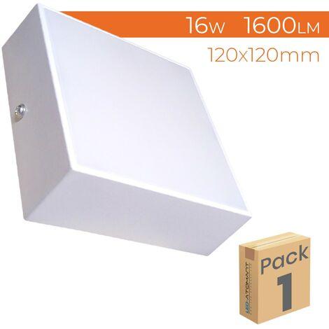 Plafón LED Cuadrado Superficie Frameless 16W 1600LM 6500K 120mm A++ | Blanco Frío 6500K - Pack 5 Uds. - Blanco Frío 6500K