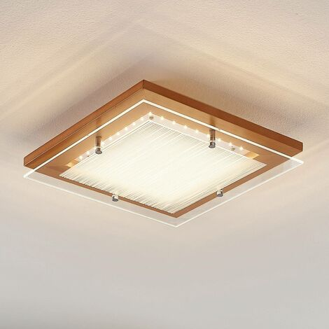 Plafón LED de madera Cattleya, 32 cm