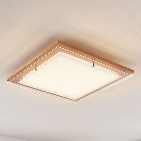 Plafón LED de madera Cattleya, 52 cm