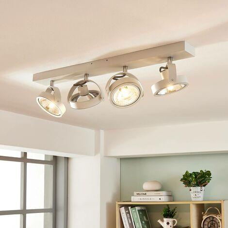 Plafón LED Lieven alargado, 4 brazos, blanco