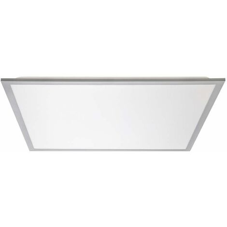 Plafón LED panel LED regulable 50x50 plafón cocina plafón LED, estructura, plateado, 30 vatios 2400 lumen blanco cálido H 7 cm, salón