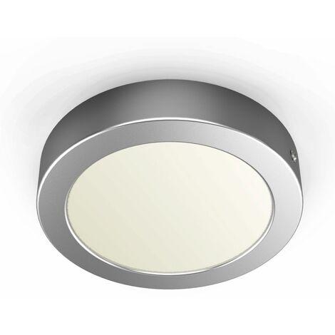 Pláfon LED redondo incl. módulo Led de 12W I Luz blanco natural 3000K 900lm I Plata mateI Ø170 I Downlight de superficie I Lámpara de techo de B.K.Licht