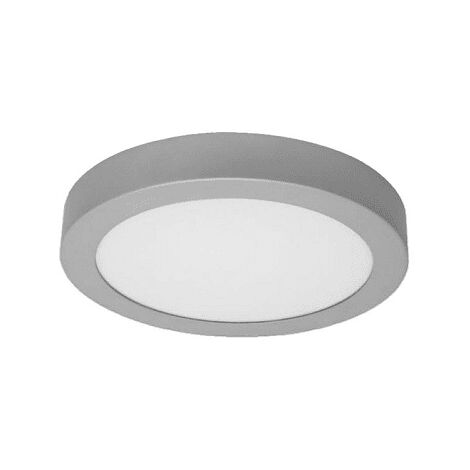 Plafon LED redondo Luz calida marco plateado 18W