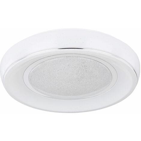 Plafón LED regulable con mando a distancia, plafón LED de cristal para salón, temperatura de color regulable con luz nocturna, 1x 24W 1700lm 3000 -6000K, FxH 49x9 cm