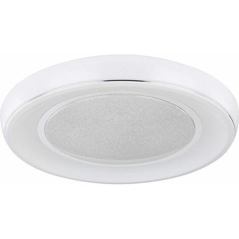 Plafón LED regulable con mando a distancia Plafón LED para salón cristal, temperatura de color regulable con luz nocturna, 1x 30W 1950lm 3000 -6000K, FxH 66x9 cm