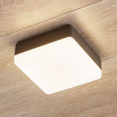 Plafón LED Thilo, IP54, gris, 16 cm, sensor TL