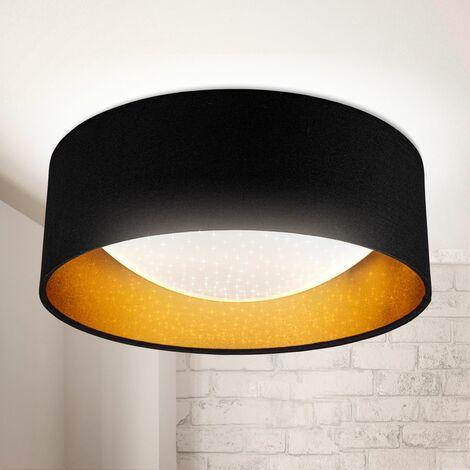 Plafón moderno con pantalla textil Ø 32cm, exclusivo efecto estrella, lámpara empotrable LED 12W 1200lm, lámpara de tela brillante, pantalla en oro negro