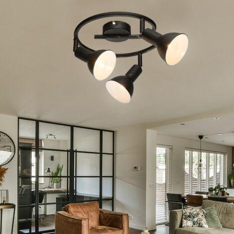 Plafón Rondell Lámpara salón negro luz ORO movible en el juego incluyendo bombillas LED