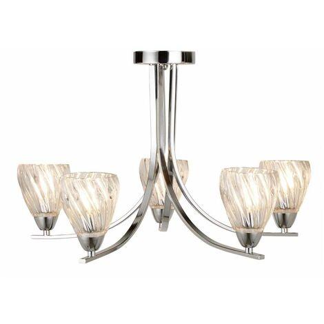 Plafón semiempotrado Ascona de 5 llamas, marco cromado torcido, pantallas de vidrio torcido transparente