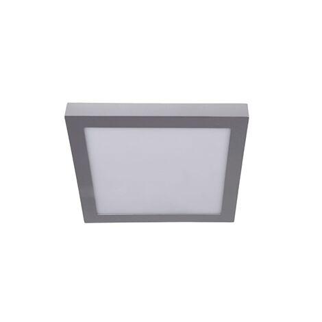 Plafón superficie cuadrado plata 18w 6000k luz blanca - 0