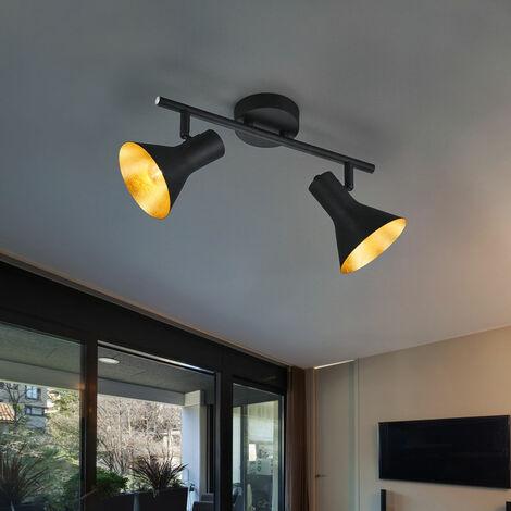 Plafond lumière réglable en métal or noir mat lampe de espace vital Comprend ampoules LED