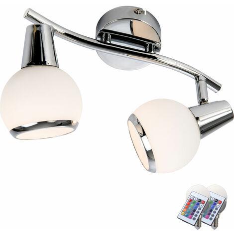 Plafond projecteurs à LED salon dimmable spots à distance se déplacent dans un ensemble comprenant des lampes à LED RGB