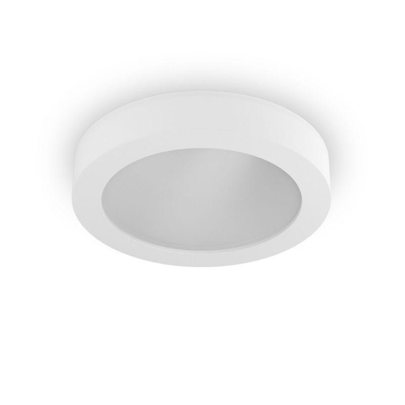 Plafoniera bf-8879 81 30cm e27 led 9010 belfiore gesso bianco vetro tondo soffitto parete dipingere interno ip20
