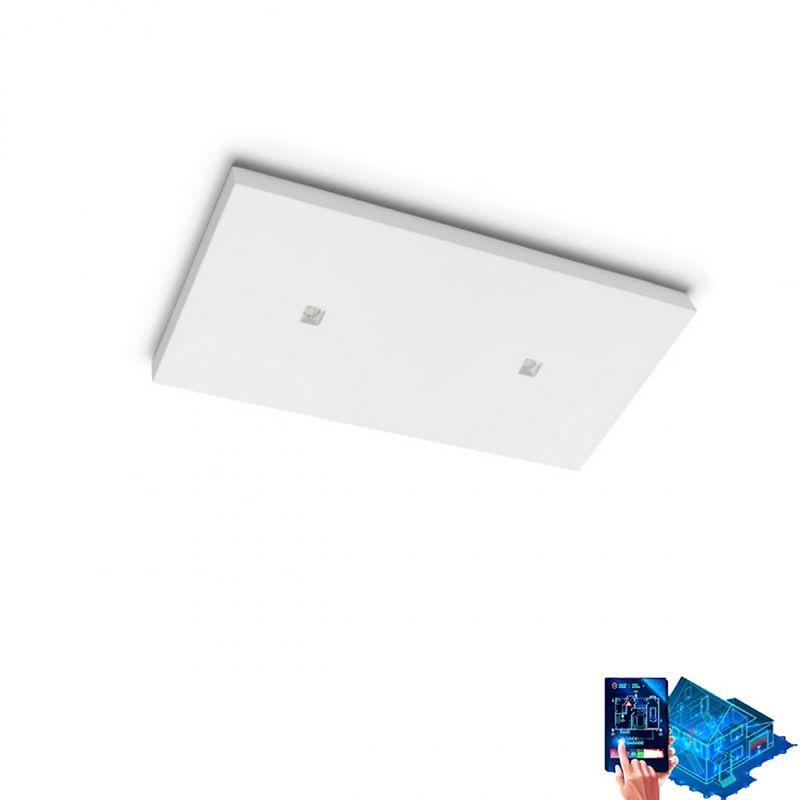 Belfiore-9010 - Plafoniera belfiore 9010 8903 b 12w led 1000lm sistema wireless gesso bianco verniciabile lampada soffitto rettangolare interno