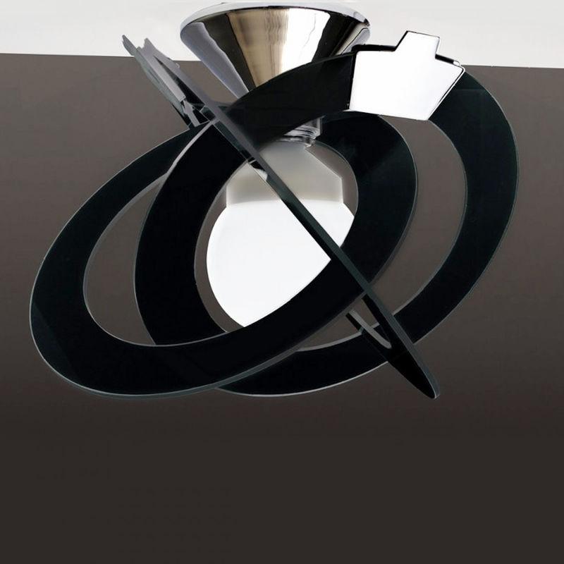 Sostituire Plafoniera Con Lampadario : Plafoniera co orbit 738 35pa 35cm e27 led vetro cerchi nero bianco