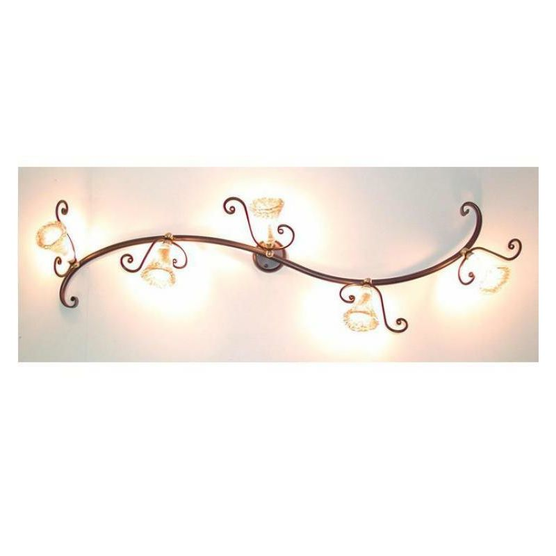 Plafoniera faretto in ferro battuto e vetro 5 luci lanterna applique lampione - CRUCCOLINI