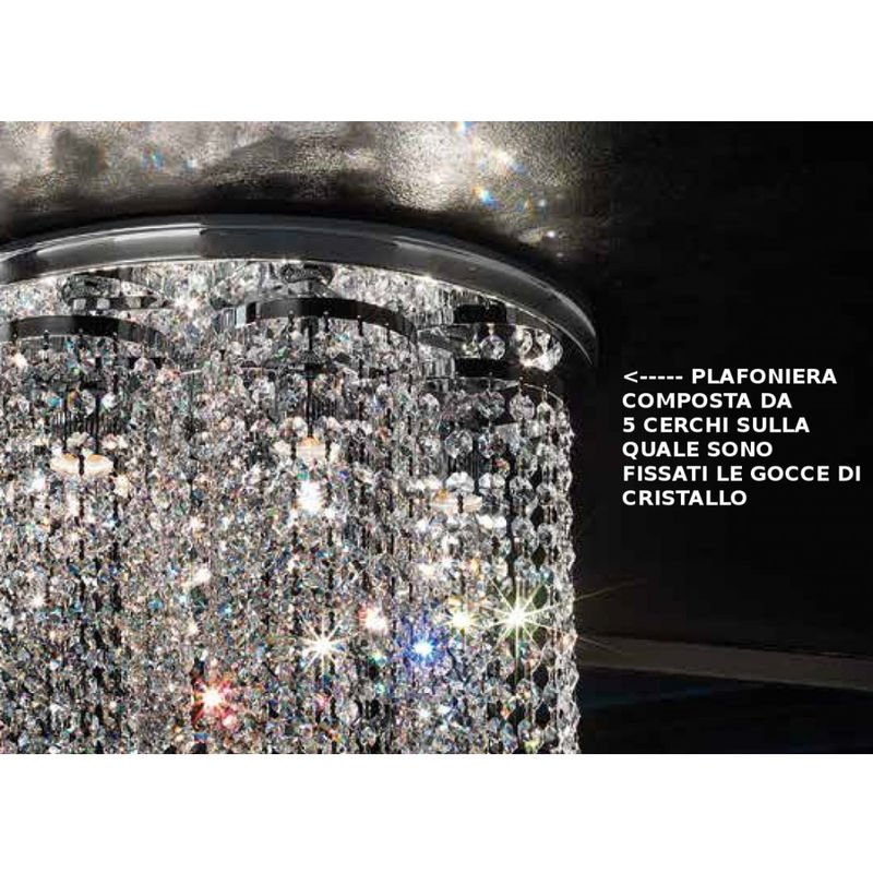 Plafoniere Soffitto Cristallo : Plafoniera fb charleston pl e led cristallo multiluce