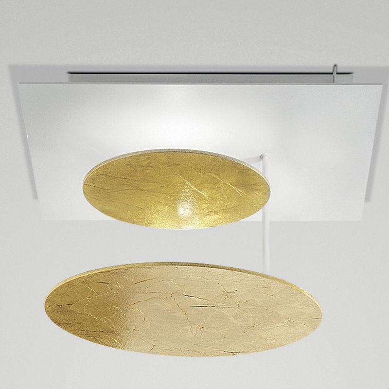 Fratelli Braga - Plafoniera fb-rotary 2116 pl35 40w led 3600lm cerchi orientabili metallo lampada soffitto moderna tonda interno, finitura metallo
