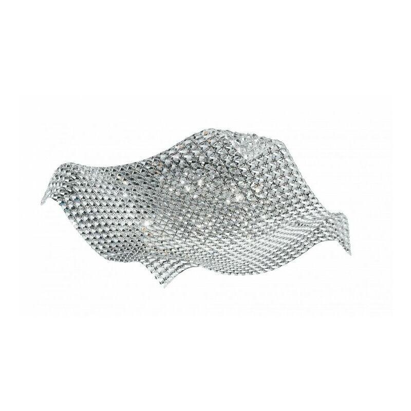 Plafoniera con cristalli trasparenti e dalla forma originale e sinuosa 42 watt G9