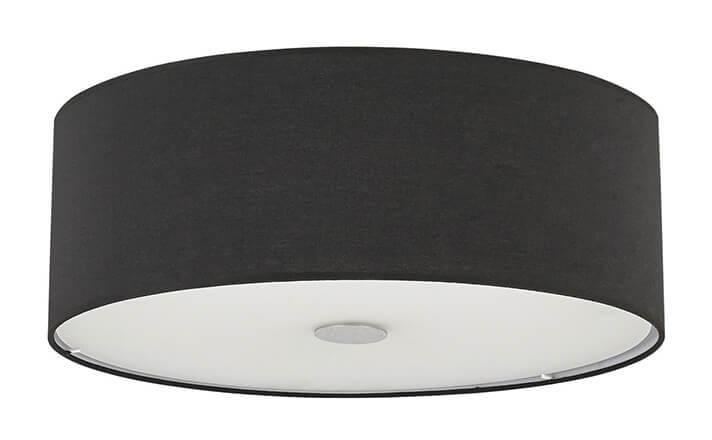 Plafoniera id woody pl e tessuto nero metallo classico moderno