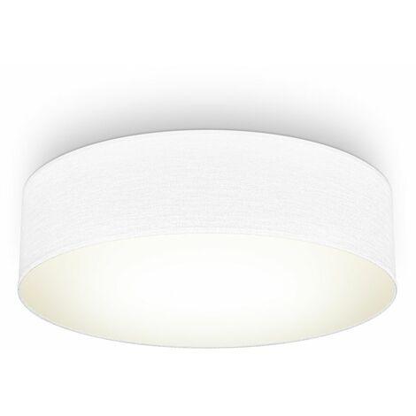 Plafoniera in tessuto bianco, attacco per 2 lampadine E27 non incluse, Lampada da soffitto diametro 38cm, Lampadario moderno per salotto o camera da letto, IP20
