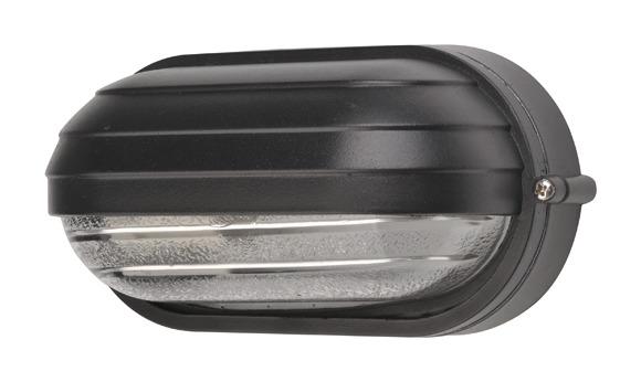 Plafoniera lampada da giardino ovale maxi nera applique